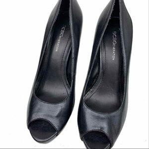 BCBGeneration Black Peep-Toe Heels Size 7